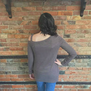 Heathered Brown Knotted Top