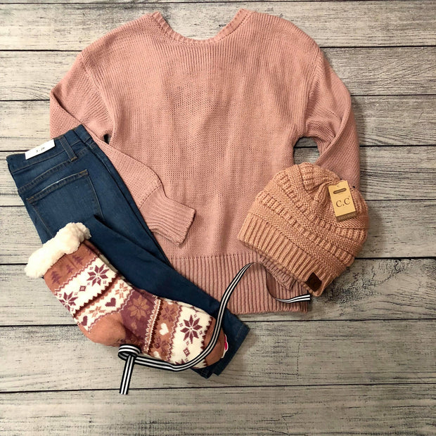 Pink Open Back Sweater