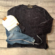 Dark Blue Chenille Sweater