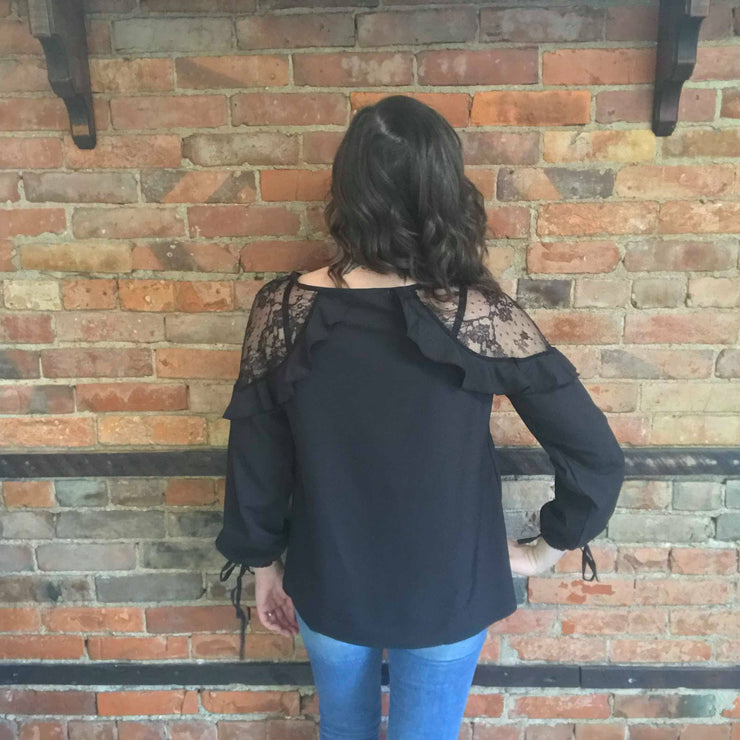Black Lace & Ruffles Blouse