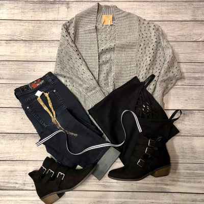 Gray Sweater Cardigan With Cutouts