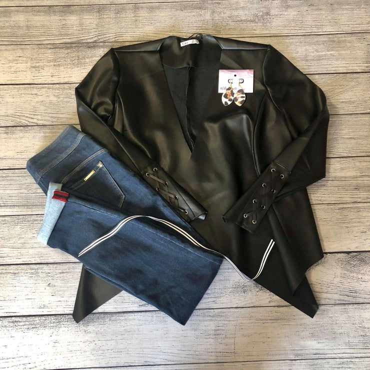 Faux Leather Waterfall Jacket