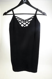 Lattice Front Cami-Black