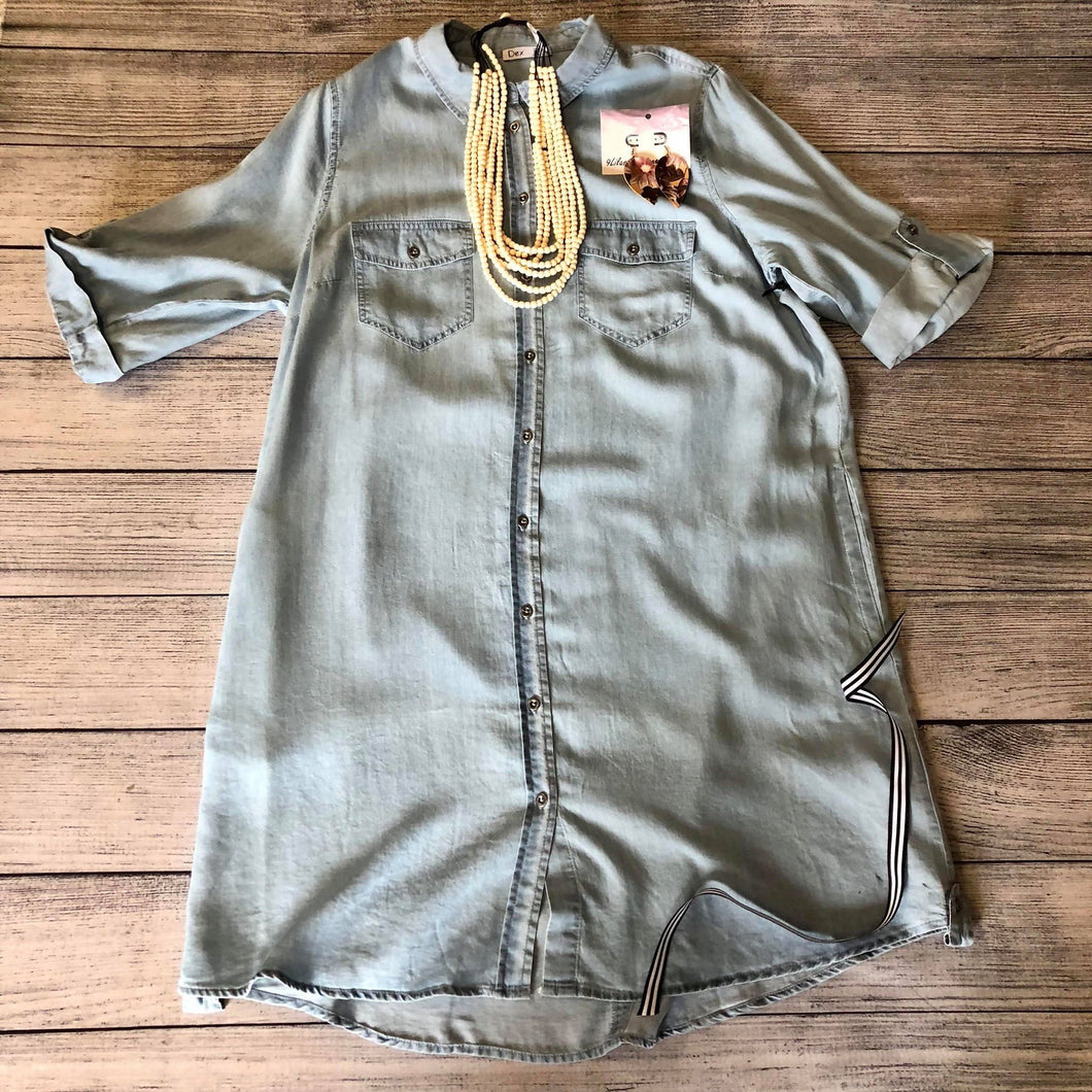 Denim Button Front Tunic