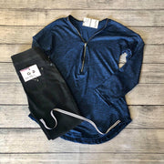 Navy & Black Zipped Top