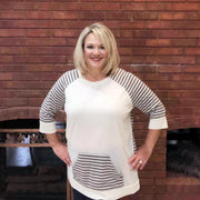 Charcoal Striped Tunic with Pocket