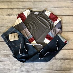 Gray Colorblock Sleeve Top