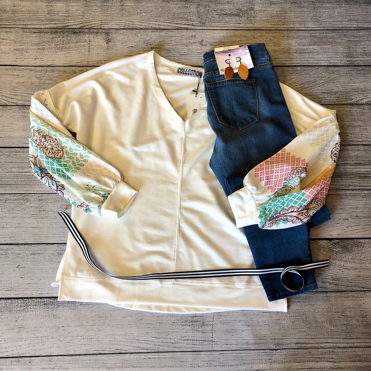 White & Floral Patchwork Blouse