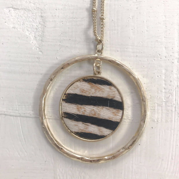 Zebra Disc Necklace