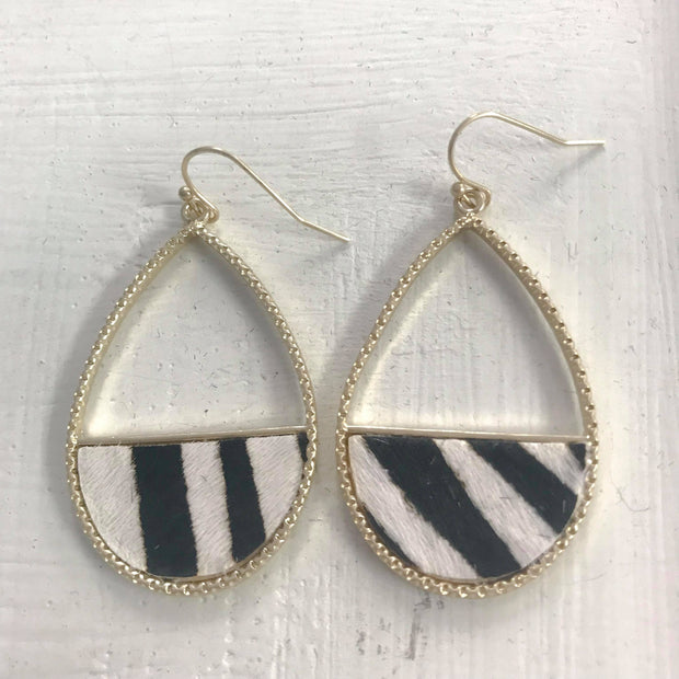 Zebra Earrings - Oval