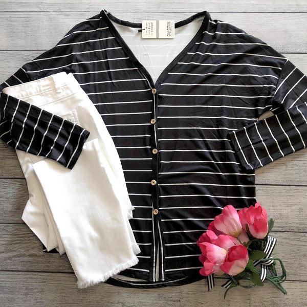 Tie Front Striped Top