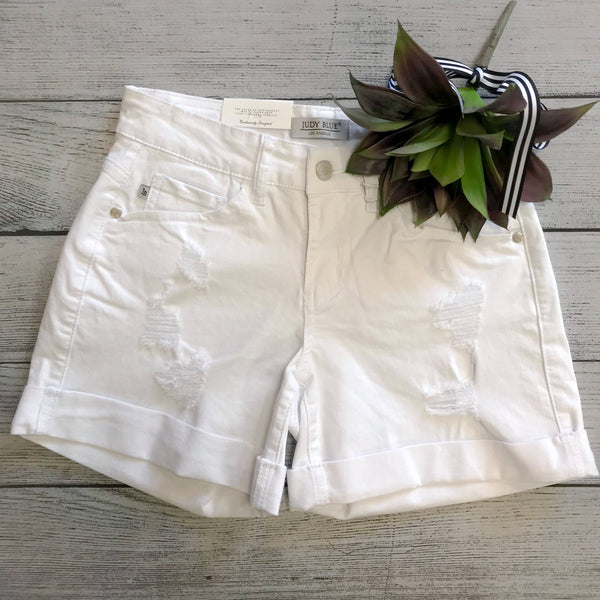 White Distressed Cuff Shorts