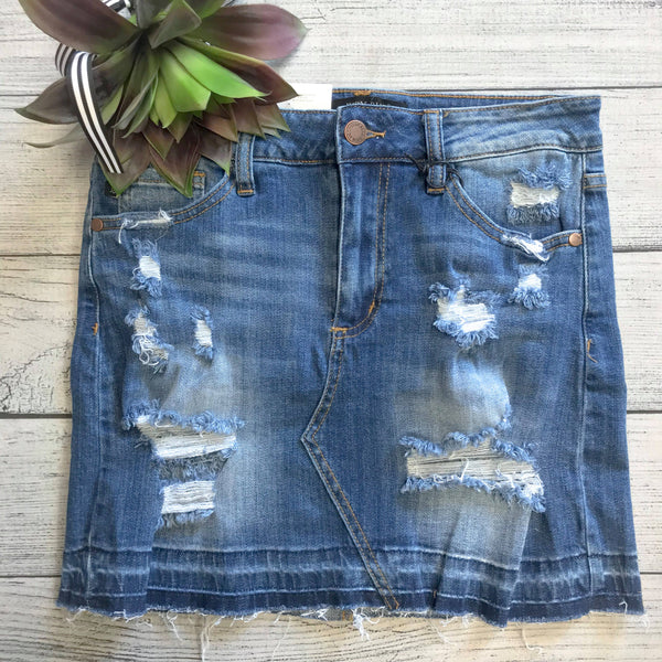 Released Hem Denim Skirt