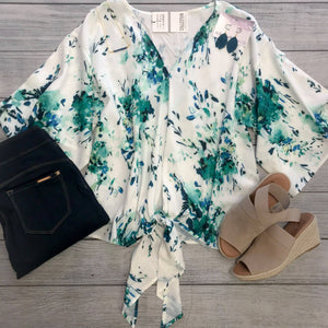 Shades of Green Floral Kimono Top