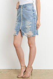 Distressed Zipper Denim Skirt