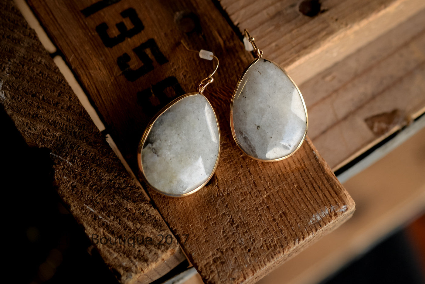 Grey Marble/Gold Drop Earrings