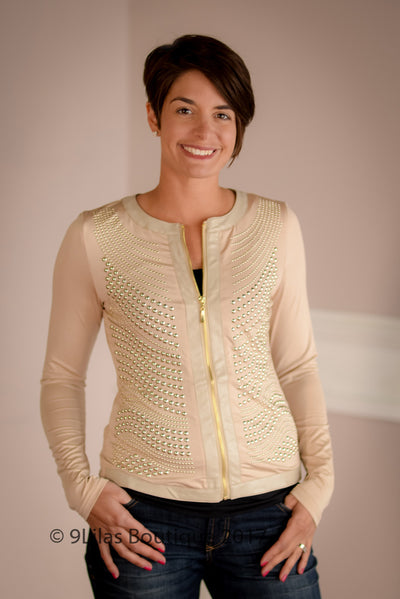 Studded Silver Jacket in Beige with Stretch S-3X
