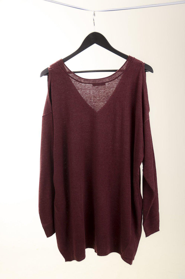 Cranberry Cold Shoulder Sweater