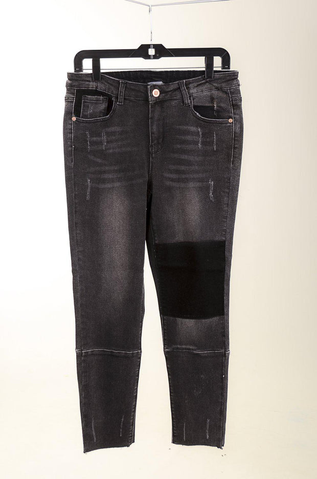 Black Patchwork Denim