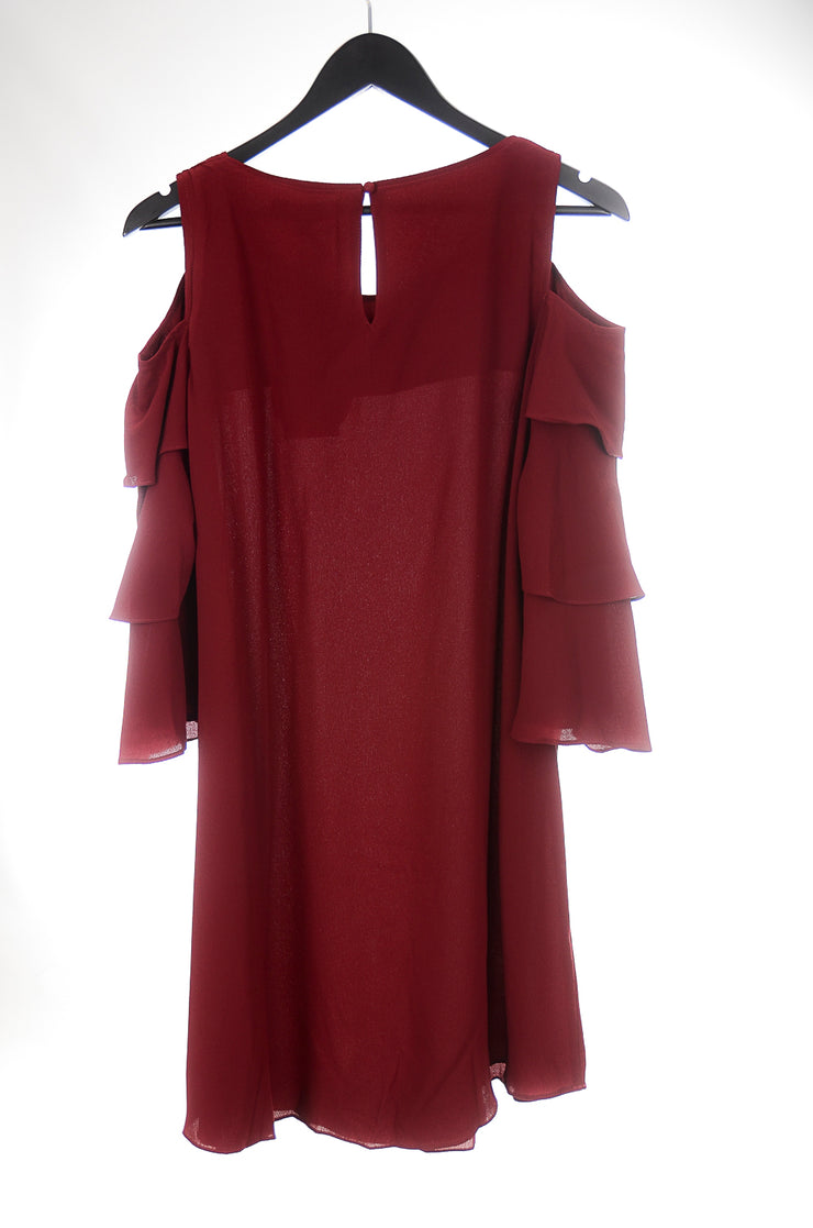 Burgundy Ruffle Cold Shoulder Dress