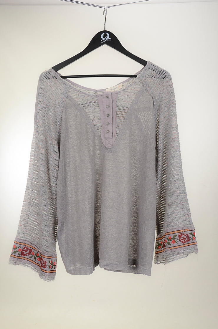Gray and Floral Embroidered Bell Sleeve Top