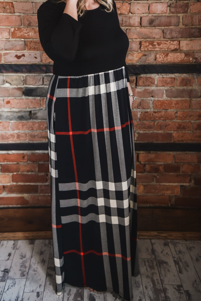 Plaid Contrast Maxi Dress S-3X