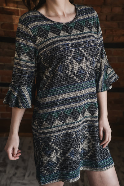 Southwest Printed Bell Sleeve Dress S-XL