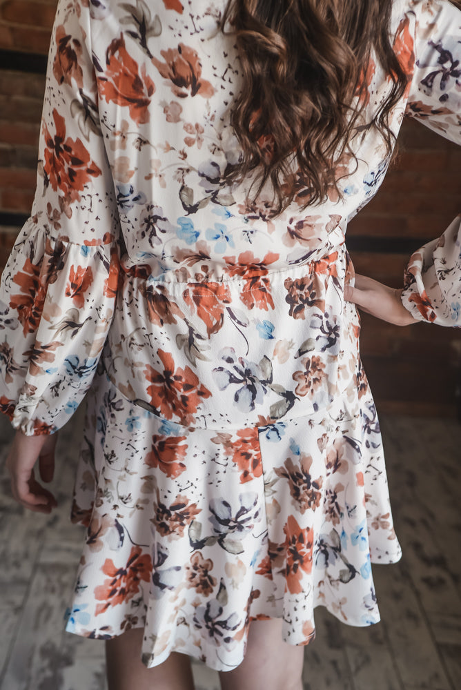 Rust Floral Tie Dress XS-L