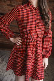 Buffalo Plaid Tie Dress XS-L
