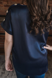 Navy Button Sleeve Blouse S-2X