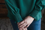 Emerald Crochet Detail Blouse S-2X