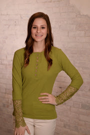 Chartreuse Crochet Sleeve Ribbed Top S-2X