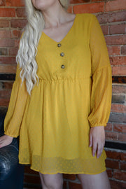 Mustard Swiss Dot Dress S-XL