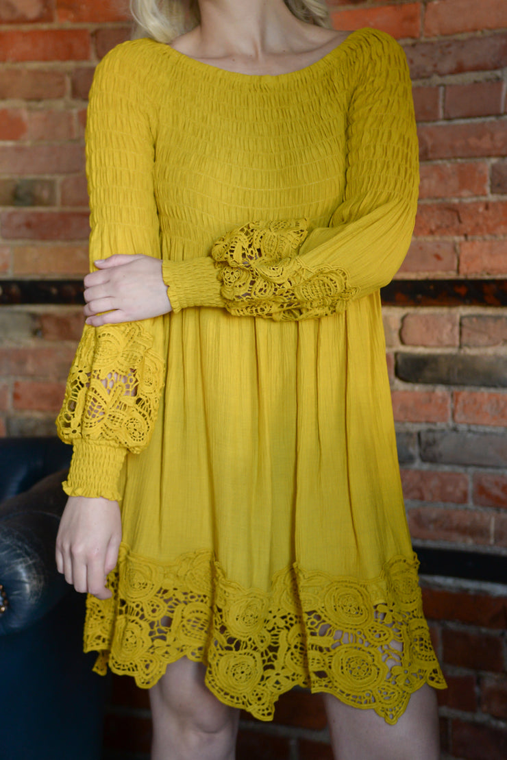 Mustard Off Shoulder Crochet Hem Dress S-3X