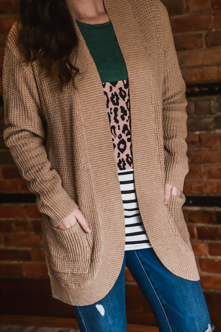 Taupe Knit Cardigan S-XL