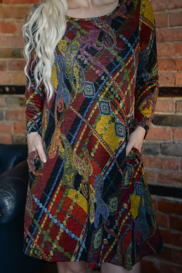 Rust Multi Print A-Line Sweater Dress S-2X