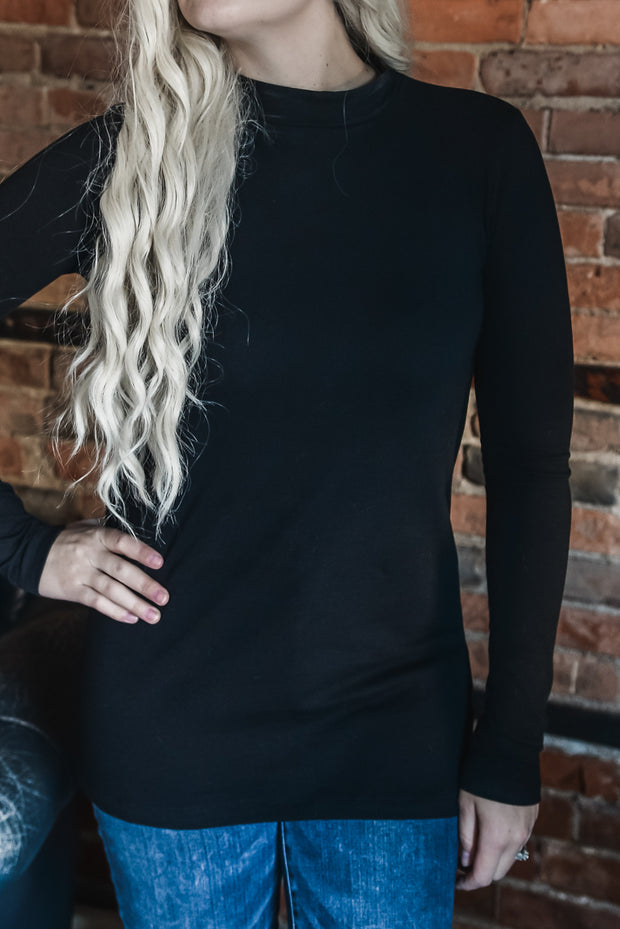 Black Mock Neck Top S-XL