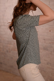Blue Grey Dalmatian Print Puff Sleeve Top XS-3X