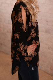 Floral Open Tie Sleeve Blouse S-2X