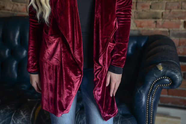 Burgundy Velour Cardigan S-2X