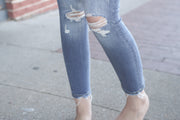 High Rise Distressed Ankle Skinny *online & Pella only