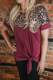 Maroon Sequin Pocket Leopard Top S-XL-Top-9Lilas