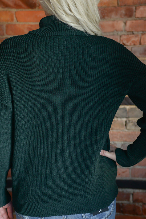 Hunter Green Turtle Neck Puff Sleeve Sweater S-XL