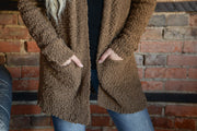 Mocha Popcorn Pocket Cardigan S-XL