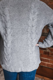Grey Cable Knit Open Cardigan