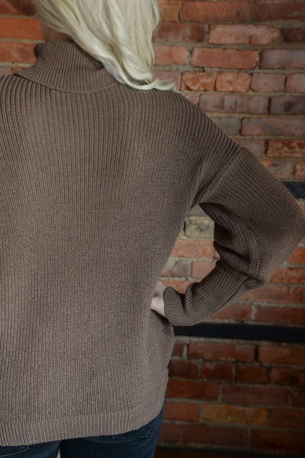 Mocha Turtle Neck Puff Sleeve Sweater S-XL