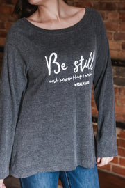 """Be Still"" Graphic Tunic Top S-2X"