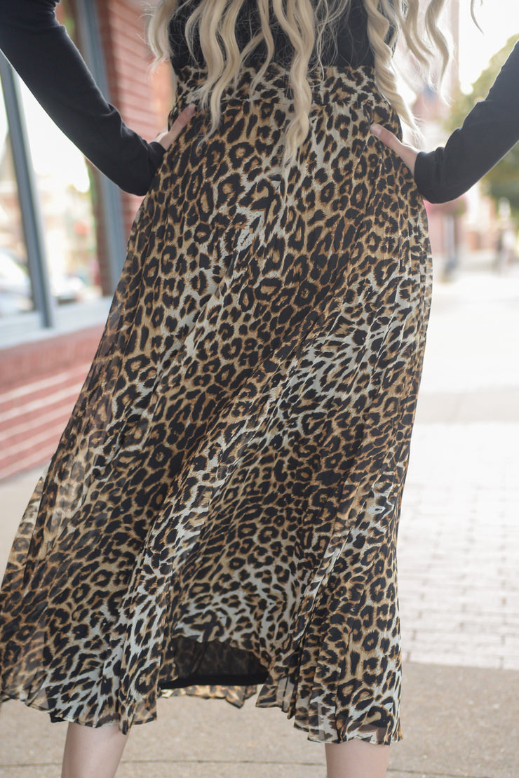 Leopard Pleated Midi Skirt S-L