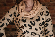 Leopard Button Cowl Sweater S-2X