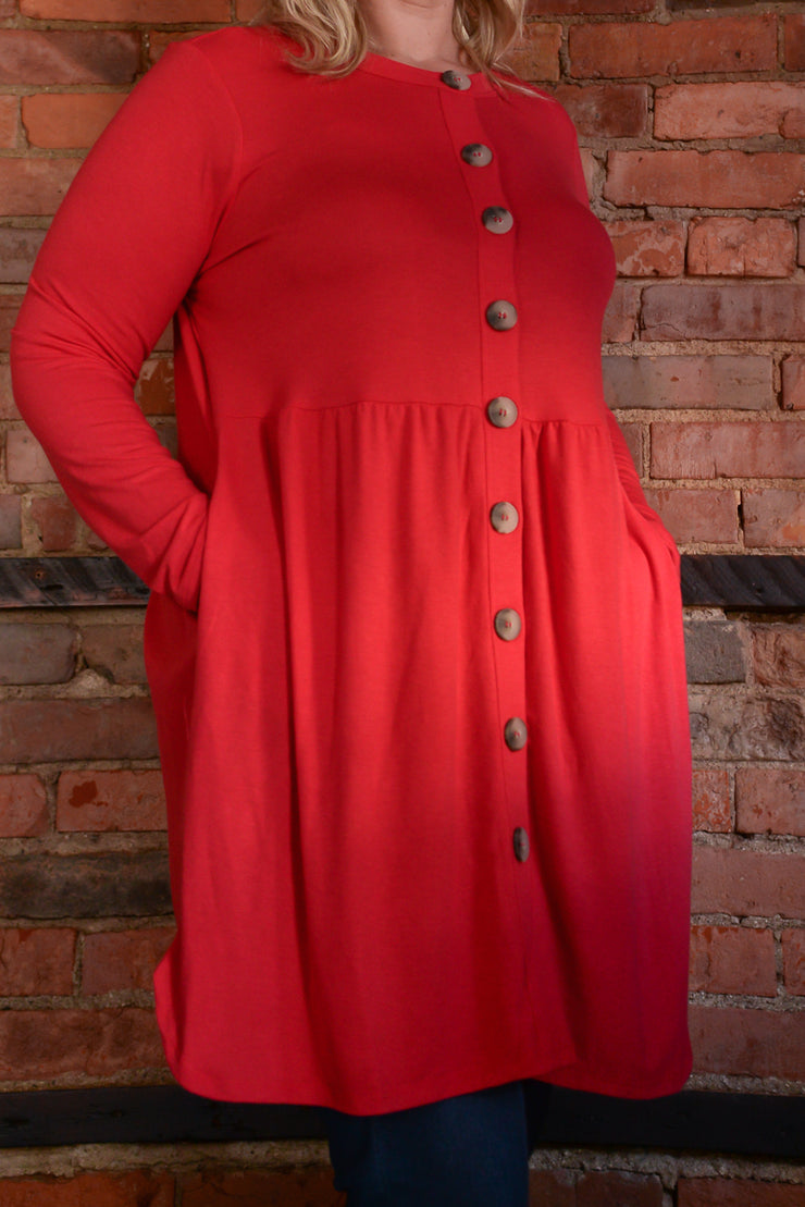 Shirred Waist Button Cardigan S-3X